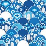 半圈猫头鹰蓝色无缝的样式 免版税库存图片