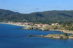 半岛的Sithonia希腊一个小的镇Sarti 免版税图库摄影
