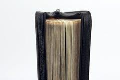 半开立场在白色背景的圣经 库存图片