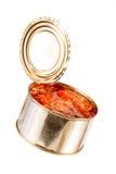 半开金属罐头用食物 免版税库存图片