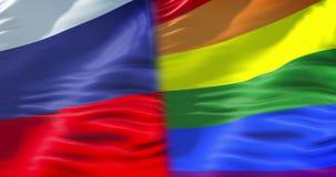 半挥动五颜六色同性恋自豪日彩虹旗子和半俄国沙文主义情绪,民权旗子在俄罗斯无缝使成环,和平 皇族释放例证