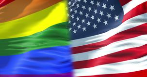 半挥动沙文主义情绪五颜六色同性恋自豪日彩虹的旗子和半的美国,民权旗子在无缝的美国 向量例证
