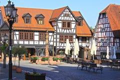半木料半灰泥的大厦在德国,米歇尔斯塔特 图库摄影