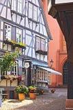 半木料半灰泥的大厦在德国,米歇尔斯塔特 免版税库存图片