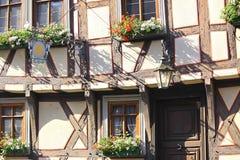 半木料半灰泥的大厦在德国,米歇尔斯塔特 免版税图库摄影