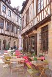 半木料半灰泥的房子和大阳台,第茂,法国 库存照片