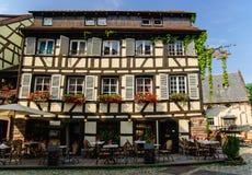 半木料半灰泥的房子在史特拉斯堡,法国 免版税库存图片