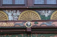 半木料半灰泥的房子在帕德博恩,德国 库存图片