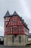 半木料半灰泥的房子在林堡省,德国 免版税库存图片