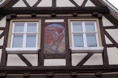 半木料半灰泥的老房子在Aalen,德国 免版税库存照片