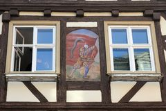 半木料半灰泥的老房子在Aalen,德国 免版税库存图片