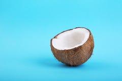 半椰子特写镜头在明亮的蓝色背景的 雅致的健康破裂的椰树 一个美丽的成熟白色椰子的片断 免版税图库摄影