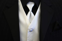 半正式礼服的无尾礼服背心白色 库存图片