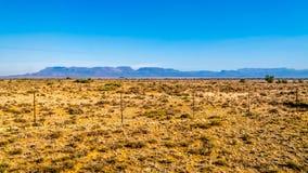 半沙漠南部非洲的干旱台地高原地区的不尽的大开风景在自由州和东开普省 免版税图库摄影