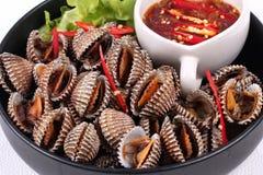 半熟血液鸟蛤壳服务用辣调味汁 免版税库存图片