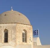 半球形的希腊教会 库存照片
