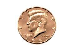 半硬币的美元 免版税图库摄影