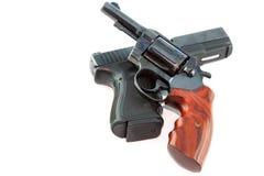 半自动手枪和左轮手枪枪 库存照片