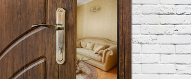 半门户开放主义一个现代客厅特写镜头 库存图片