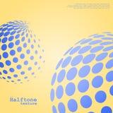 半音球形的抽象背景在蓝色颜色的 库存照片