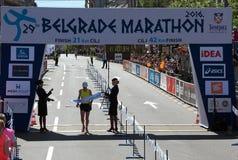 半马拉松的优胜者人的 库存照片