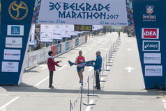 半马拉松的优胜者人的 免版税图库摄影