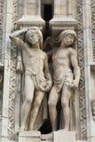 华丽大理石门面的细节在米兰大教堂的 图库摄影