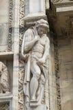 华丽大理石门面的细节在米兰大教堂的 免版税库存图片