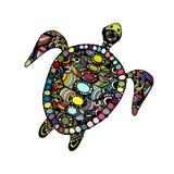 华丽的草龟,您的设计的zentangle 向量例证