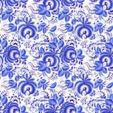 华丽蓝色和白色花卉无缝的样式 免版税库存图片