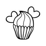 华伦泰与两心脏的杯形蛋糕剪影 免版税图库摄影