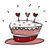 华伦泰与心脏的爱蛋糕在桃红色白色和红色 免版税库存图片