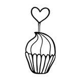 华伦泰与心脏轻便短大衣的杯形蛋糕剪影 免版税库存照片