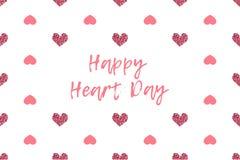 华伦泰与文本和桃红色心脏的贺卡 库存图片