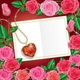 华伦泰与美丽的玫瑰和Necklet的` s天。 库存例证
