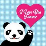 华伦泰与逗人喜爱的熊猫的传染媒介卡片 免版税库存照片