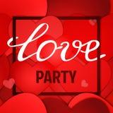 华伦泰党海报设计的传染媒介红色纸心脏背景 向量例证