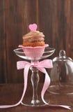 华伦泰巧克力杯形蛋糕 库存照片