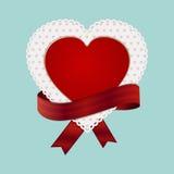 华伦泰心脏卡片和丝带 免版税库存图片