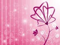 华伦泰心脏花卉桃红色背景 免版税库存照片