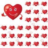 华伦泰心脏,面带笑容,集合 免版税库存图片