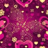 华伦泰无缝的紫色样式 库存图片