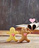 华伦泰曲奇饼有心脏的姜饼人 库存照片
