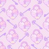 华伦泰样式 逗人喜爱的与心脏和钥匙的传染媒介无缝的纹理在淡色 爱背景 库存图片