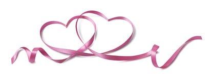 华伦泰桃红色2心脏丝带被隔绝的设计元素 免版税图库摄影