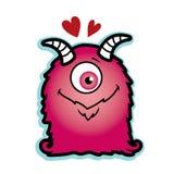 华伦泰爱与红色心脏长毛的独眼巨人的妖怪桃红色 免版税库存照片