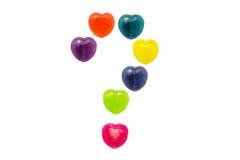 华伦泰的心脏糖果集合正在考虑中标记形状 免版税库存图片