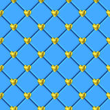 华伦泰金心脏蓝色瓦片样式 免版税库存图片
