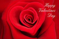 华伦泰贺卡,在心脏的形状的红色玫瑰 库存照片