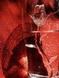 华伦泰玻璃在绝对红色背景的清楚的水中上升了 免版税库存照片